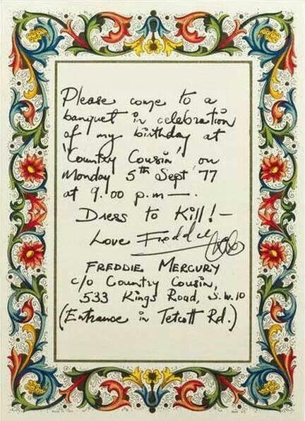 Handwritten invitation to Freddie's birthday, 1977.