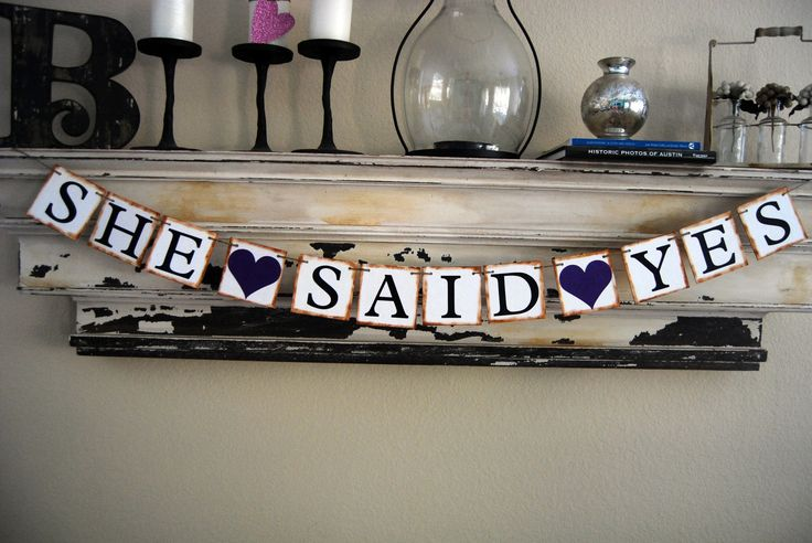 Wedding Banner - Engagement Party Decoration - Photo Prop - SHE SAID YES Bunting Garland Banner. $22.00, via Etsy.