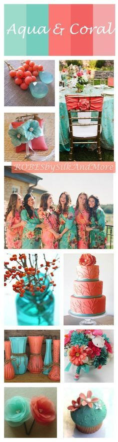 Robes by silkandmore - Coral and Aqua Wedding Color Robes, $25 (http://robesbysilkandmore.com/coral-and-aqua-wedding-color-robes/)