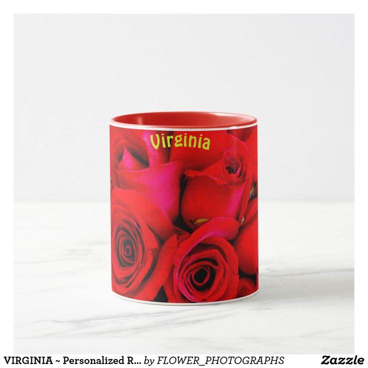 VIRGINIA ~ Personalized Red Rose Buds Photograph ~ Mug