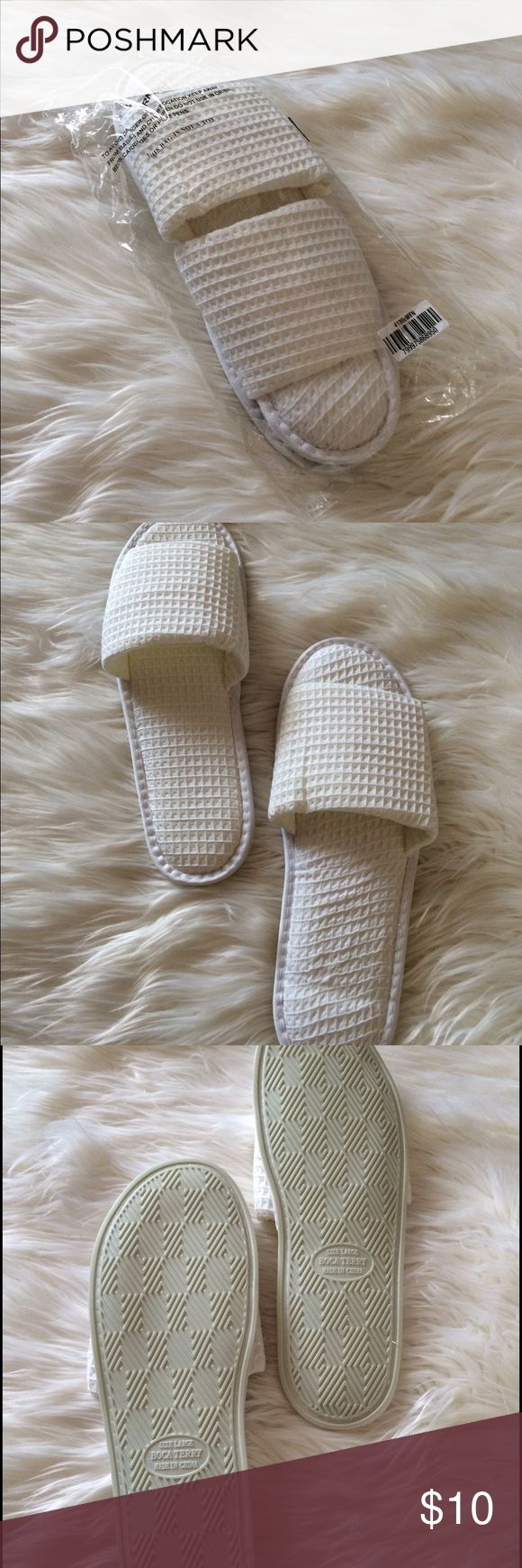Spa slippers White size large Boca Terry spa slippers. New in package. Boca Terry Shoes Slippers