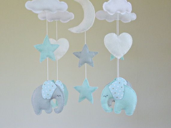 Elephant Baby Cot Mobile with pale cream moon by ClooneyCrafts