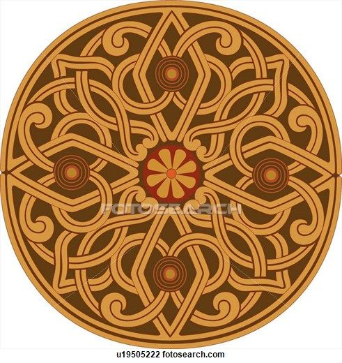 Clipart of Brown and Red Pattern Design Ornament