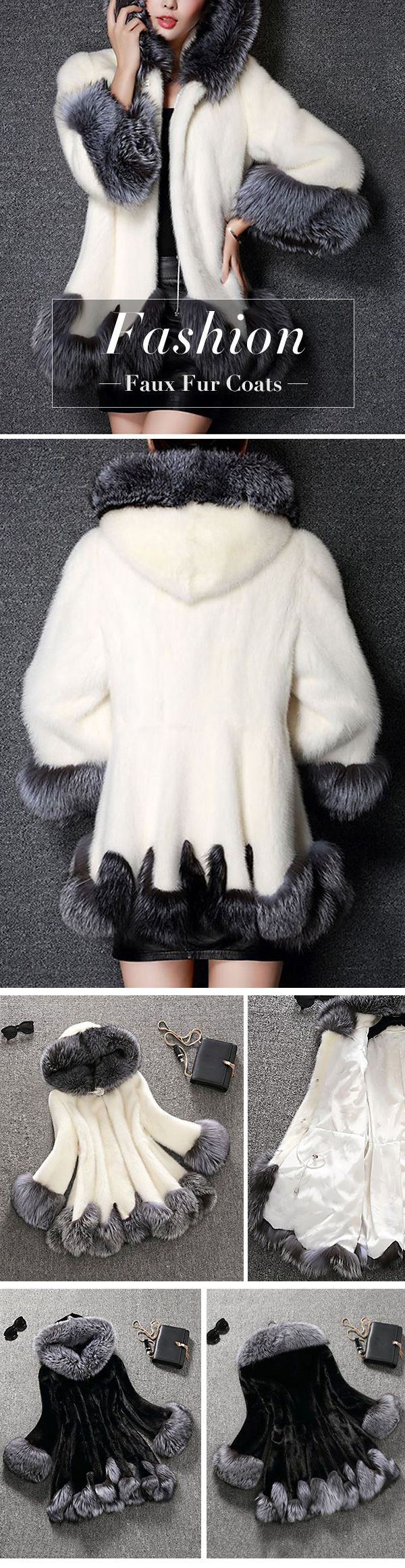 Fashion Hooded Faux Fur Coats For Women #fashion #style #winter #coat