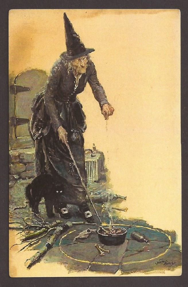 halloween black witch bewitched postcard carte postale ebay - Halloween Witchcraft