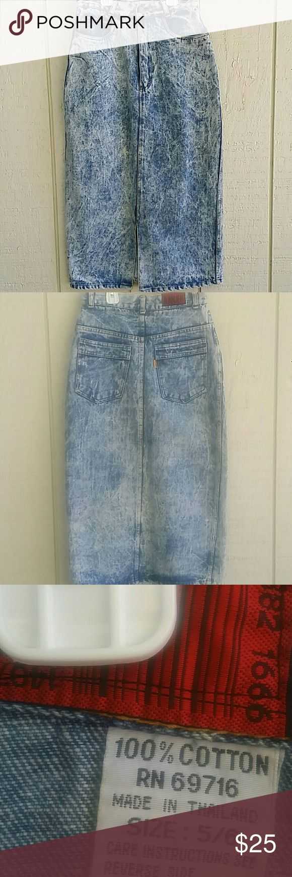 Vintage high waisted jeans skirt Very cute !! Vintage high waisted jeans skirt size 5/6 has a slit on the bottom in the front granjer Skirts Midi