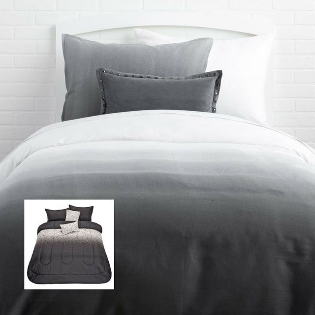 #Ombre is popular everywhere, including the #bedroom! #GettheLook with this #Living & Co #Comforter Set #Noir #Splatter 5 Piece from $30 this week @thewarehousenz.    #thewarehousenzhacks #warehousestyle #furniture #NewZealand  #thewarehousenz # #house #styling #style #hacks #clearance #beach #linen #bed #shopthetrend #luxeforless #Photo by Dormify
