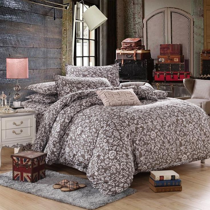 Orchid Brown Single Double Queen King Size Bed Set Pillowcase Quilt Duvet Cover