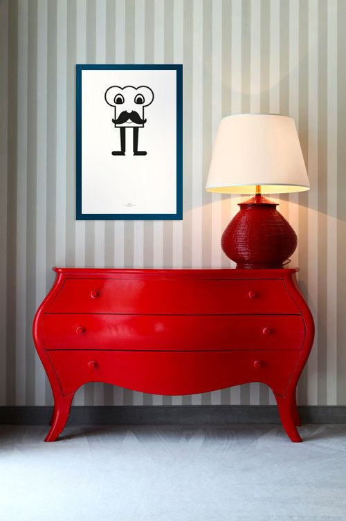 Striped Wall, Black And White Picture And Bright Red Furniture. Love The  Interesting Shape And POP Of Color.
