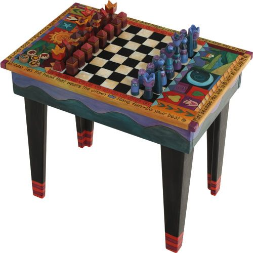 Game Table w/Drawer & Standard Chess Pieces  Made by Sticks of Des Moines, IA