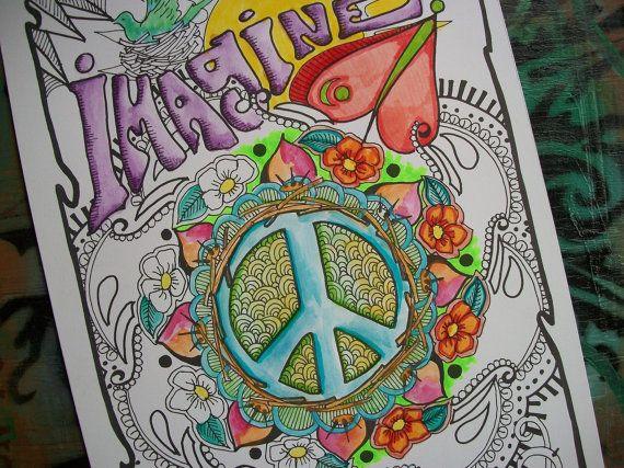 Hippie Art Coloring Pages, Imagine, Set of 2 Posters, Singleton Hippie Art. $5.00, via Etsy.