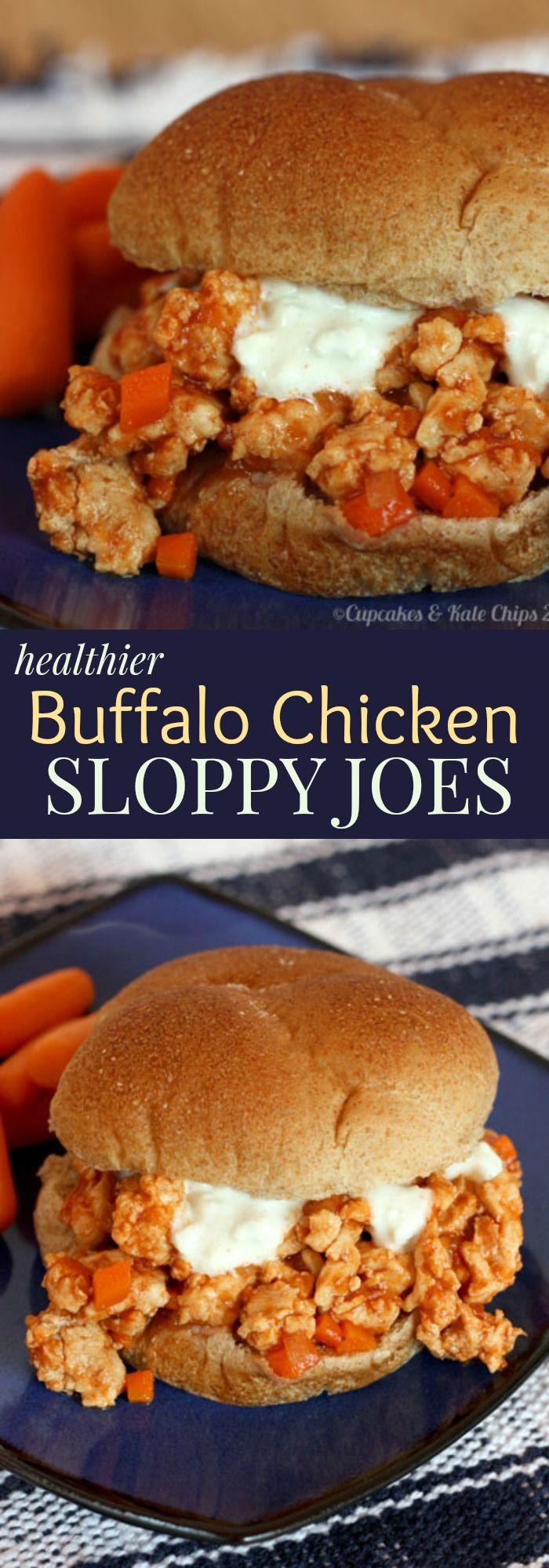 Buffalo Chicken Sloppy Joes recipe. You can get your spicy Buffalo kick in a healthier and fun way that even the kids will love.