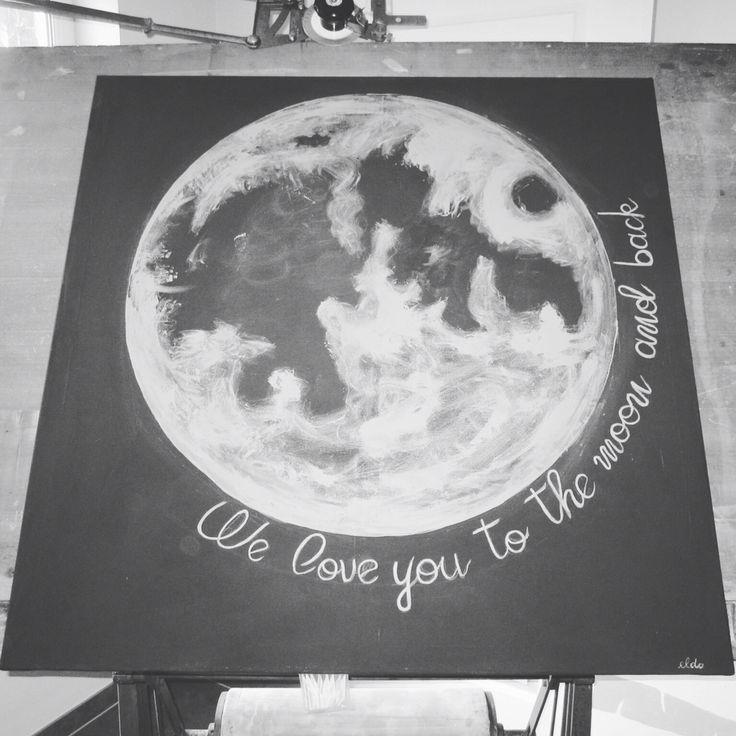 Moon babykamer nursery maan schilderij painting