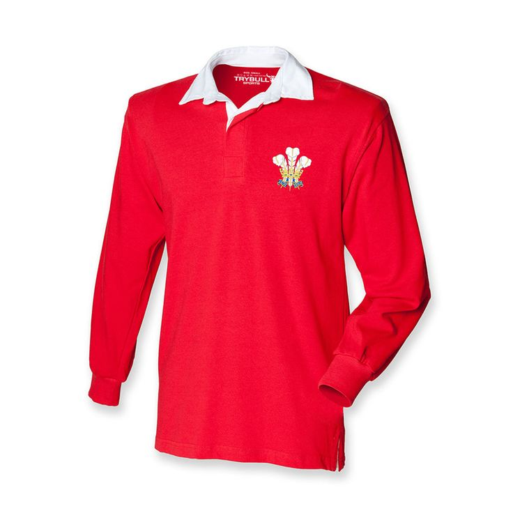 Wales Rugby Shirt TryBull Sports Prince of Wales Feathers Retro Jersey TR32