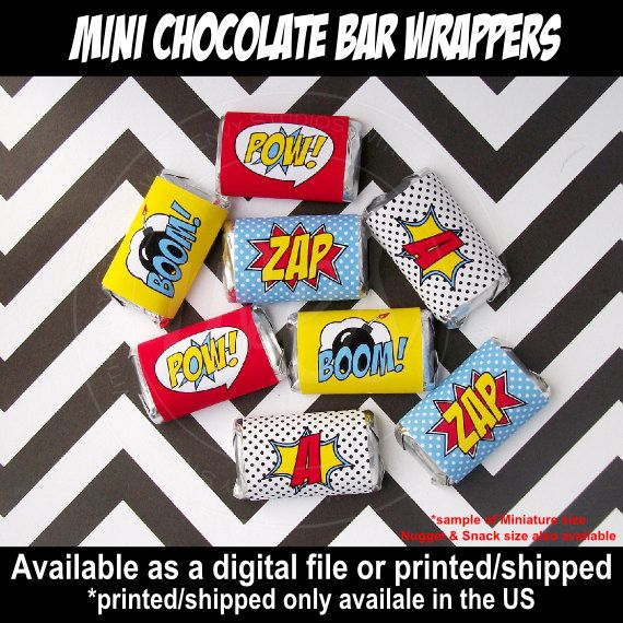 Superhero Chocolate Bar Wrappers Candy Bar by WithEnvyParties