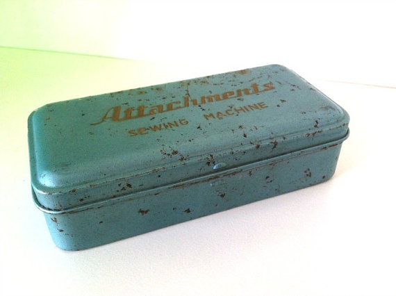 Vintage Sewing Attachments Tin Chippy Blue by LittleFleaVintage, $15.00
