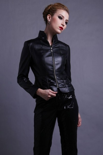 Short Style PU Jacket with Standing Collar OASAP.com
