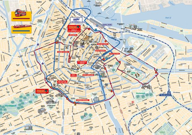 Map Of Amsterdam Hop On Hop Off Bus Tour With City Sightseeing Amsterdam Tourist Amsterdam Tourist Map Amsterdam Tourist Attractions