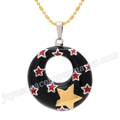Material:Acero Inoxidable     Nombre: colgante de negro esmalte con forma de circulo, externo con gráfico estrella       Talla: 44*32mm     Weight: 12g
