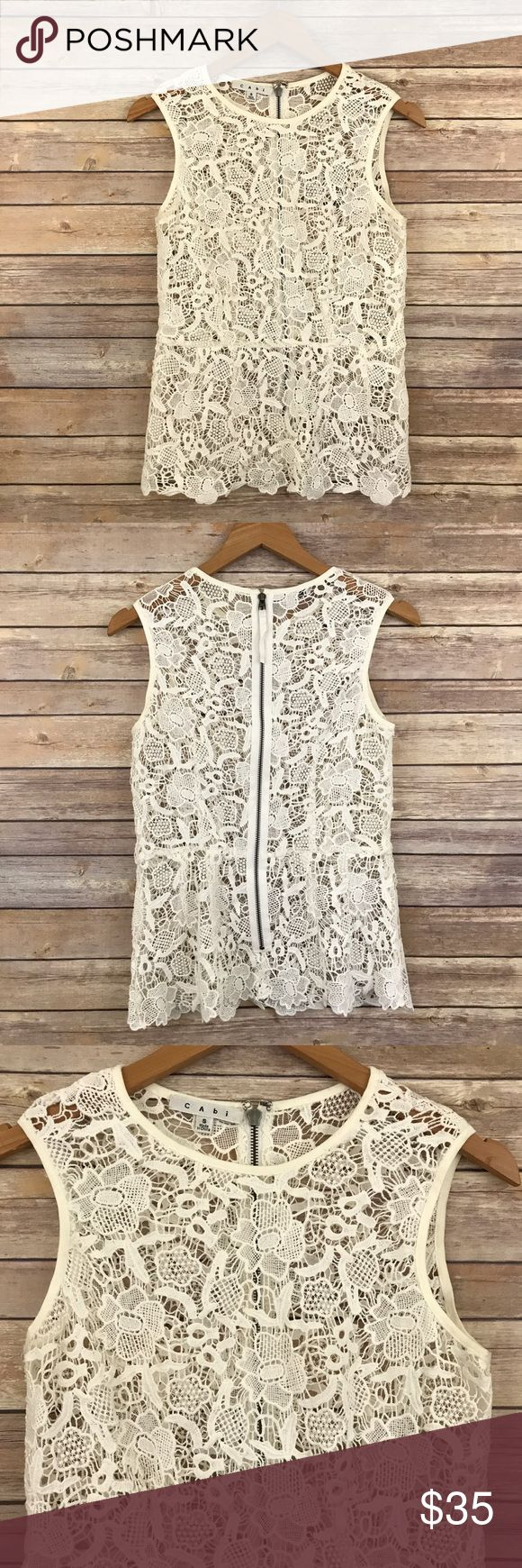 CAbi Ivory Floral Lace Peplum Top #800 S B1 Bust: Waist: Length:  Back exposed zipper   Condition: No Rips; No Stains    📦Orders are shipped within 24hrs! {Except weekends}📦  🚫No Trades🚫No Holds🚫 CAbi Tops Blouses