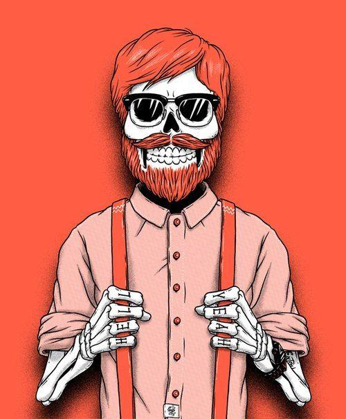 red beard art skeleton with ginger beard beards bearded suspenders skull mustache men man
