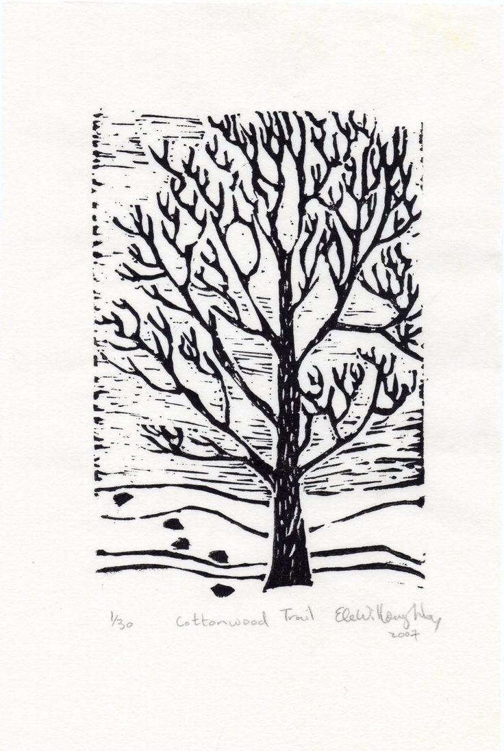 New to minouette on Etsy: The Cottonwood Trail linocut - Limited Edition - Black and White Lino Block Print Winter Scene Tracks and Cottonwood Tree (17.00 USD)
