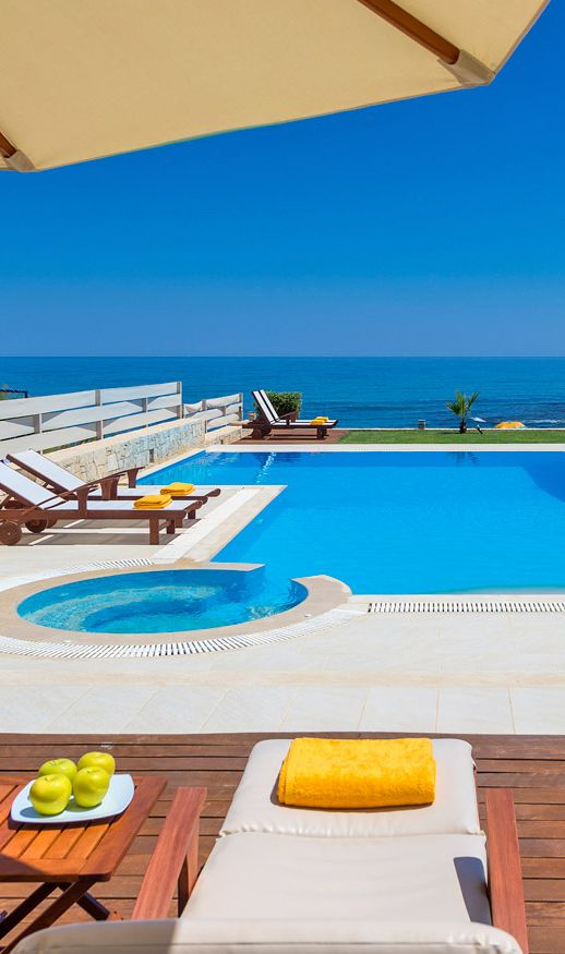 Relaxing under the sun - View from Beachfront Villa in Heraklion, Crete