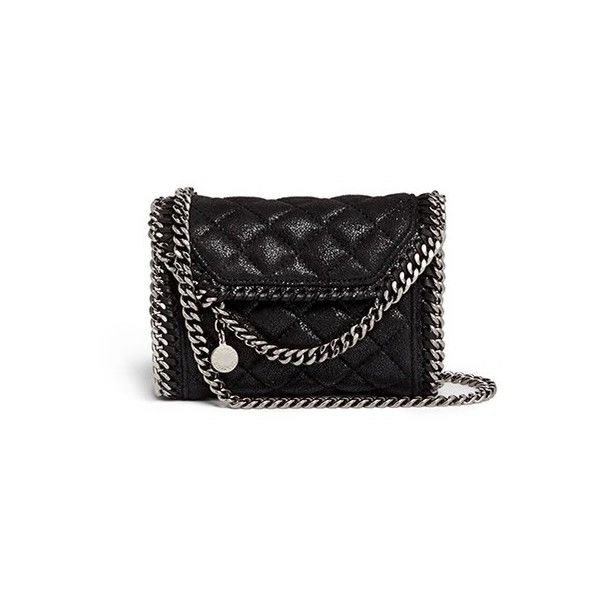 Stella Mccartney 'Falabella' tiny quilted crossbody chain bag found on Polyvore featuring bags, handbags, shoulder bags, black, black crossbody, crossbody purse, mini shoulder bag, black shoulder bag and evening handbags