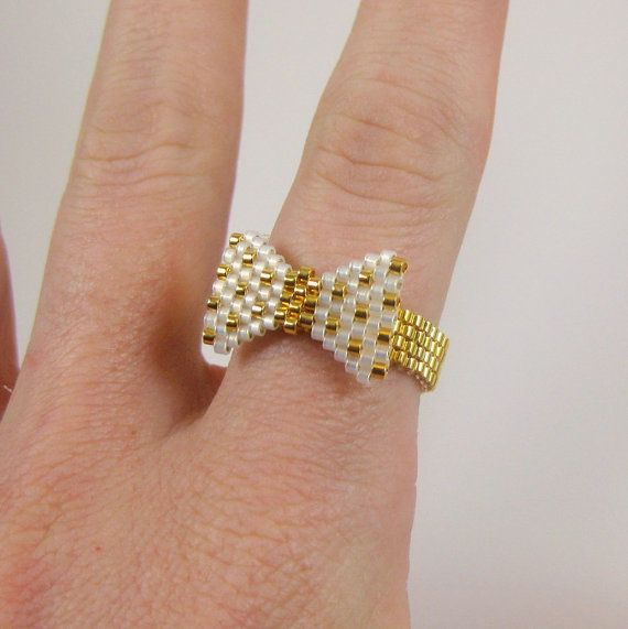 FREE SHIPPING Gold and White Polka Dot Beaded Bow by MaeMaeMills