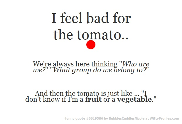 "I feel bad for the tomato.. • We're always here thinking ""Who are we?"" ""What group do we belong to?"" And then the tomato is just like ... ""I don't know if I'm a fruit or a vegetable.""  - Witty Profiles Quote 6619586 http://wittyprofiles.com/q/6619586"