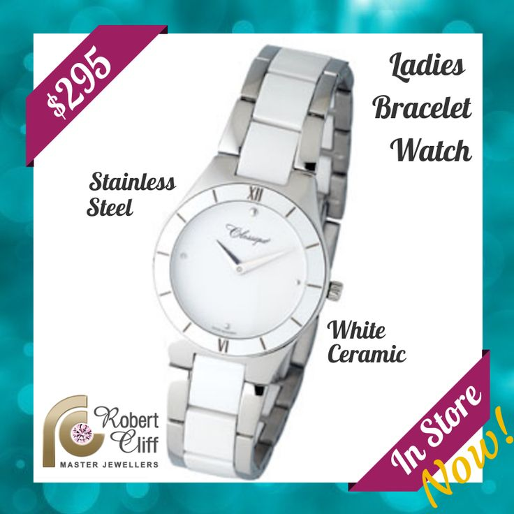 Nothing is more #affordable than highly #stylish #ClassiqueWatches. This is just one we have in store right now! #RCJewellersPromo #watchpromo #accessories #lady #watch #braceletwatch #StainlessStess #white