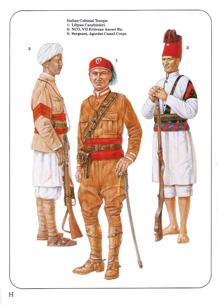 Italian Colonial Troops: 1: Libyan Carabinieri; 2: NCO, VII Eritrean Ascari Bn.; 3: Sergeant, Agordat Camel Corps