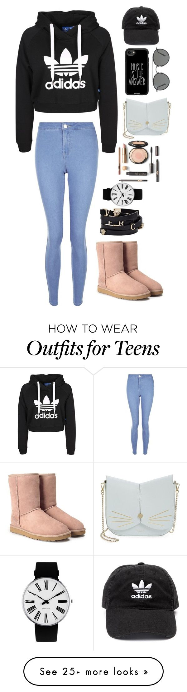 """Untitled #54"" by maliha921 on Polyvore featuring New Look, UGG, Versace, Rosendahl, Ted Baker, Casetify, Ray-Ban and adidas"