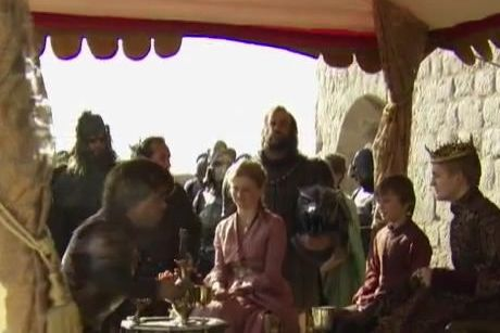 "Peter Dinklage as Tyrion Lannister, Aimee Richardson as Myrcella Baratheon, Callum Wharry as Tommen Baratheon, Rory McCann as Sandor Clegane, ""The Hound"", and Jack Gleeson as Joffrey Baratheon"
