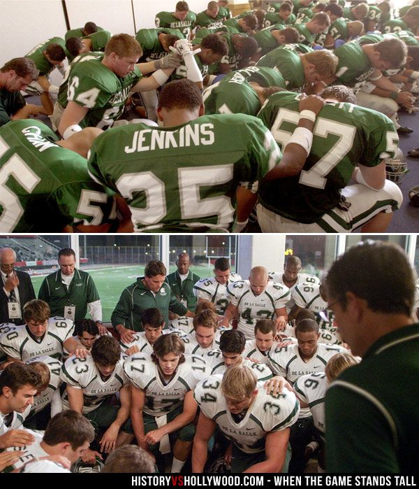 The De La Salle Spartans pray before a game in real life (top) and in the When the Game Stands Tall movie (bottom).