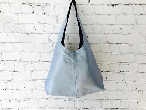Blue Silk Tote Bag, Over The Shoulder Bag, Boho Tote , Gift For Her, Casual Handbag, Womens Shoulder Bag, Hobo Handbag, Everyday Bag