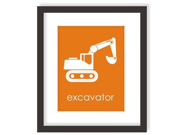 Excavator Nursery Art Print - CHOOSE COLOR - Boys Construction Room, Children Wall Art, Kids Playroom Art, Truck Nursery, Kids Prints - 8x10 on Etsy, $15.00