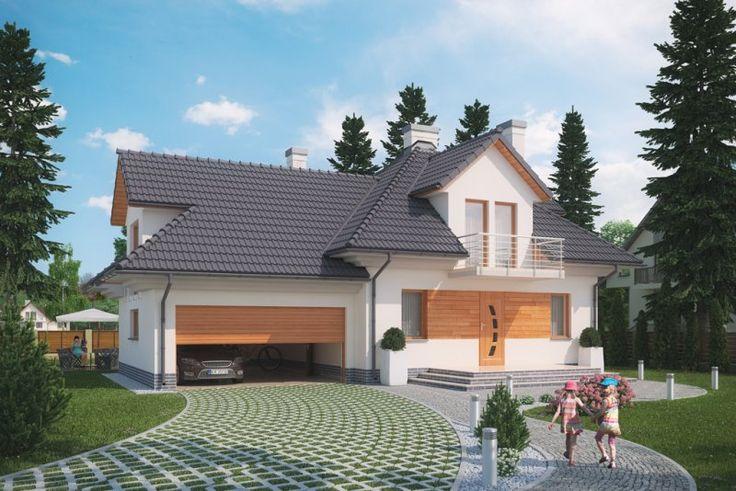 Projekt domu KORABIE DM-6341.  Dom parterowy z poddaszem mieszkalnym, garażem, częściowo podpiwniczony.