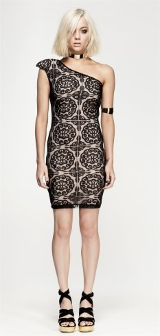 Nookie shanghai lovers body con dress one shoulder black lace $219 | threads and style