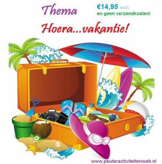 Thema: HOERA...VAKANTIE! We komen heerlijk in de vakantiestemming. De inhoud van dit thema kunt u lezen op onze website van www.peuteractiviteitenweb.nl