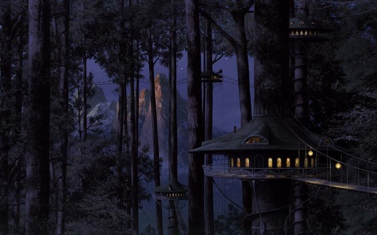 Download 1680x1050 house, tree, light, wood, night Wallpaper Widescreen WallpapeprsCraft