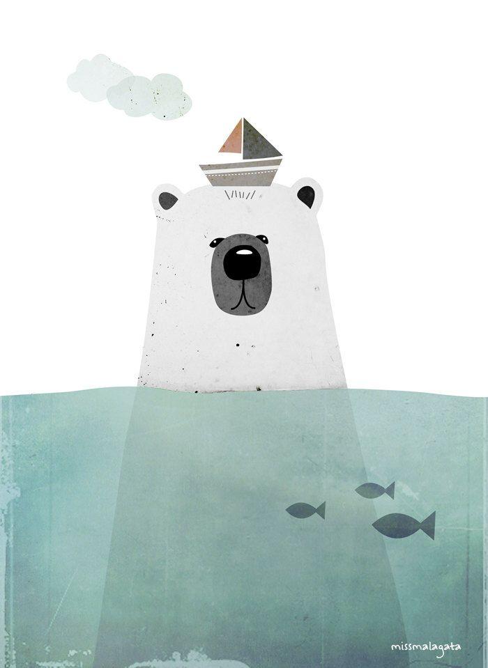DinA4 - Ilustración digital - Oso polar de missmalagata en Etsy https://www.etsy.com/es/listing/221316211/dina4-ilustracion-digital-oso-polar