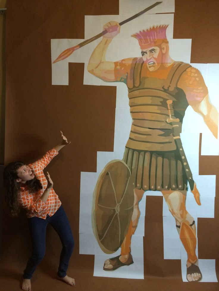 Family Worship idea - How big was Goliath? - Make a life size poster of Goliath