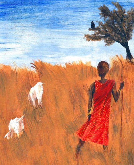 African Art Print  Maasai Kenyan Goatherder by KaterinaFineArt