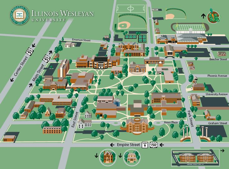 Illinois Wesleyan: Campus Map