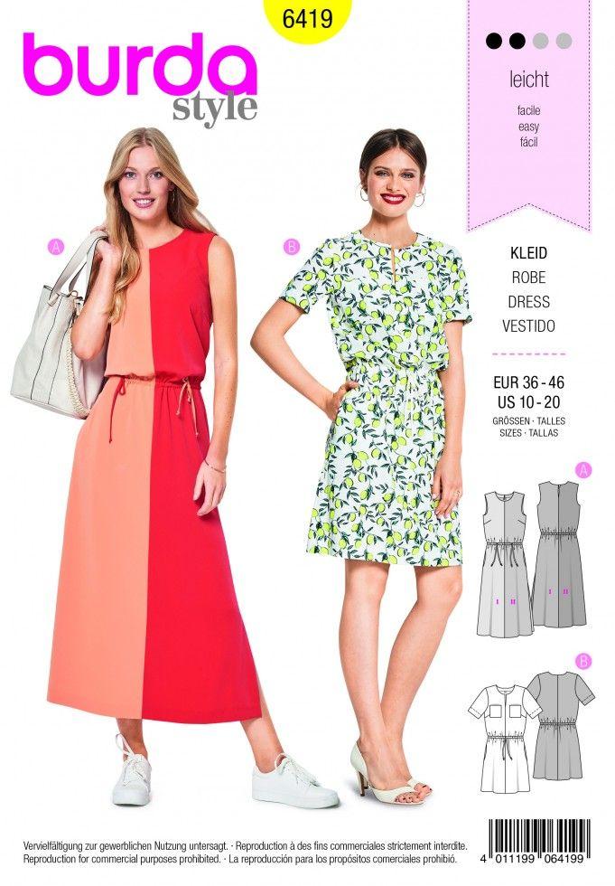 Burda Ladies Easy Sewing Pattern 6419 Short Sleeve Dresses