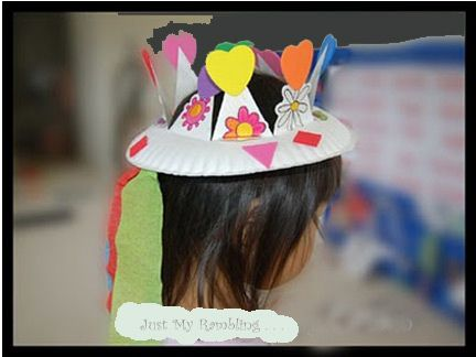 Paper plate crown. Girls can have tulle or crepe paper hanging down. Boys can just have the crown.
