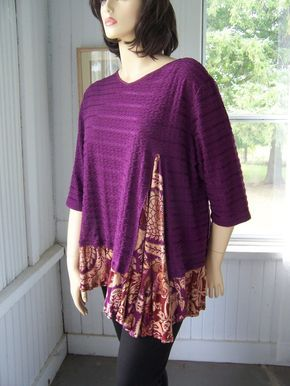 Reconstructed Tunic Shirt Top In Purple Grape Lagenlook Upcycled Plus size Up to 2X. $58.00, via Etsy.