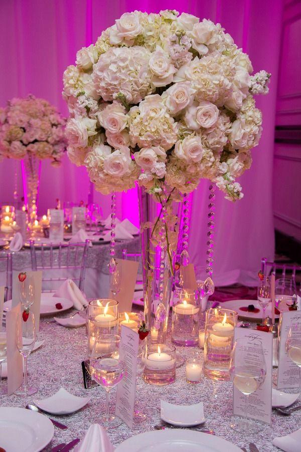 Tall White Wedding Centerpieces, Roses & Hydrangeas with Crystals {Jeff Kolodny Photography} - mazelmoments.com