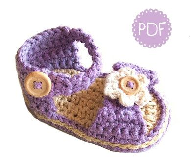 Instant Download - Crochet Pattern - Baby Sandals EMILY - PDF ebook No. 10 on Etsy, $4.99